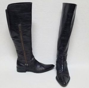 Davos Gomma Distressed Knee High Tall Riding Boots